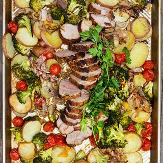 Spice Crusted Pork Potatoes and Vegetables: A delicious sheet Pan Dinner|Panning The Globe