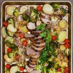recipe for spice-crusted pork potatoes and vegetables
