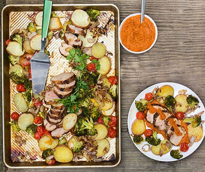 Sheet Pan Dinner: Spice-crusted pork, potatoes and vegetables | Panning The Globe