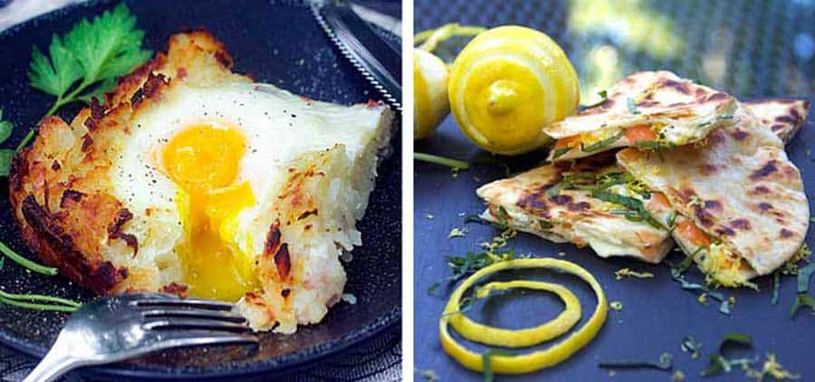 a slice of Swiss Rosti shredded potato casserole with a dripping sunny side egg on top, and 3 slices of smoked salmon quesadillas with a swirl of lemon zest and a lemon