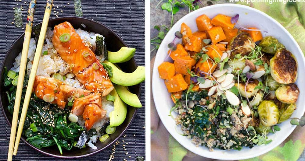 two bowls side by side: teriyaki salmon rice bowl with avocado slices and a buddha bowl with roasted sweet potatoes and brussels sprouts