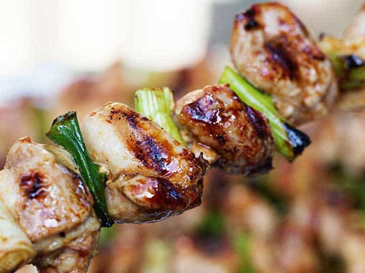 close up of a yakitori chicken skewer with 4 pieces of chicken and 3 scallions