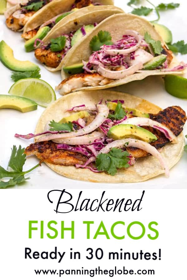 4 blackened fish tacos lined up