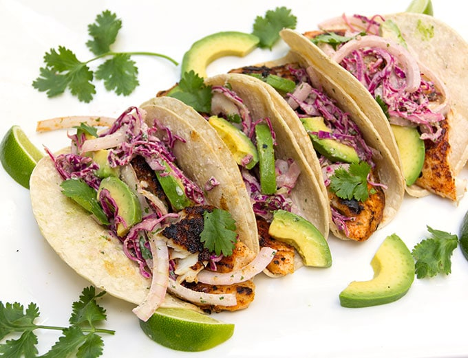Blackened Fish Tacos with spicy cabbage and onions