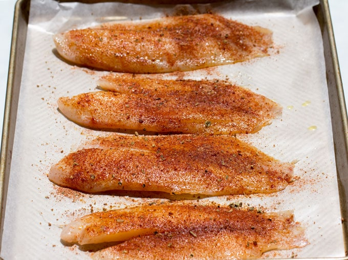 Fish with oil and blackening spices