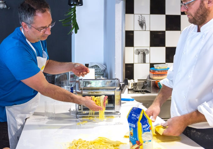 making fettuccine in Positano