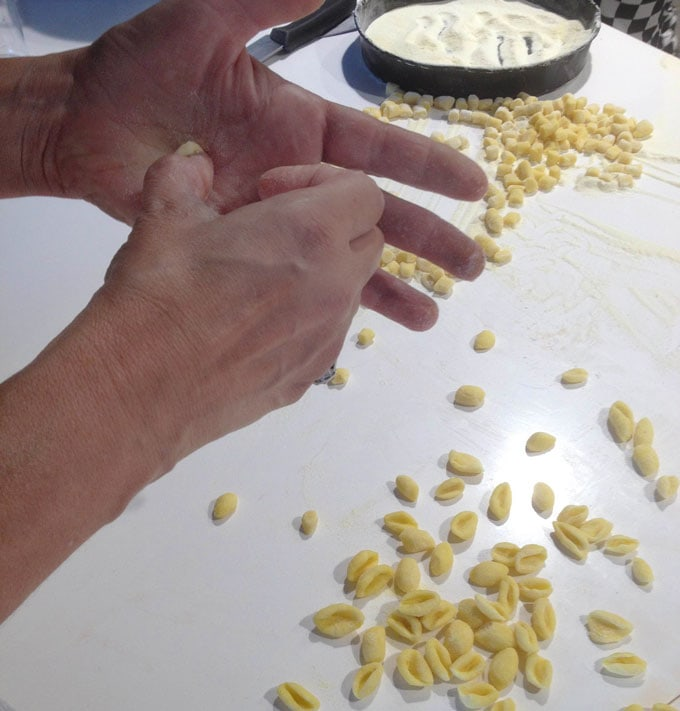 making cavatelli pasta in Italy