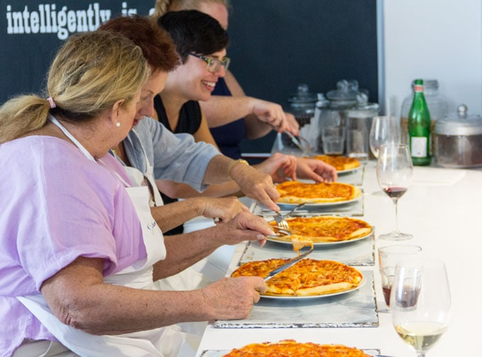 eating homemade Neapolitan pizza