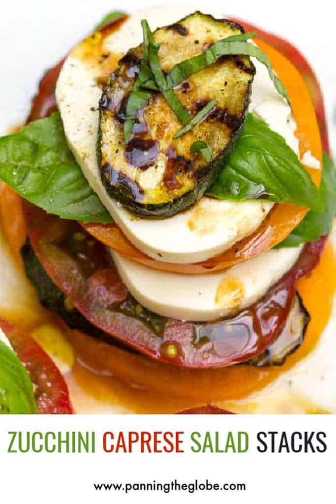 pinterest pin: stacked caprese salad with grilled zucchini on top