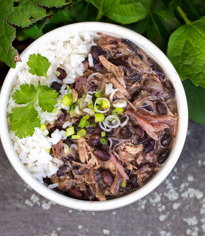 Bowl of Feijoada, Meat and black bean stew, with white rice and topping of sliced scallions and a sprig of cilantro