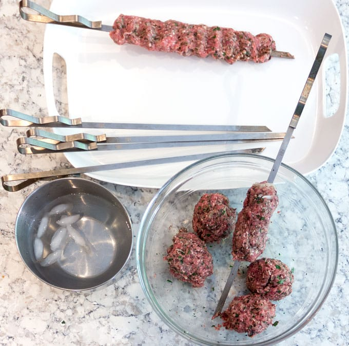 making Turkish kofta kebabs
