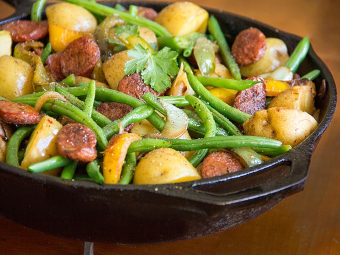 Sausages Onions Potatoes Peppers and Green Beans