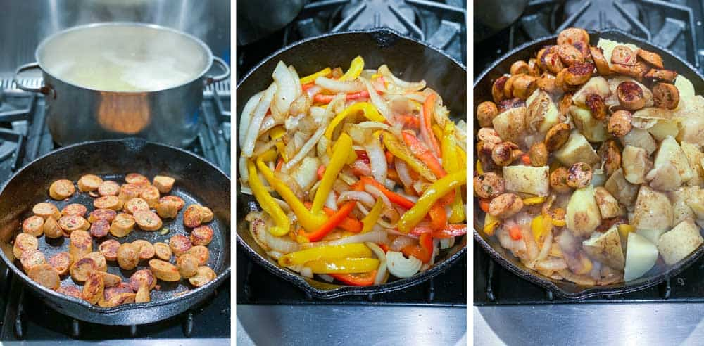 three images showing how to make sausage peppers onions and potatoes