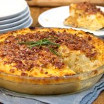 Cauliflower Gruyere Pie with Potato Crust and Bacon-Parmigiana Crumb Topping