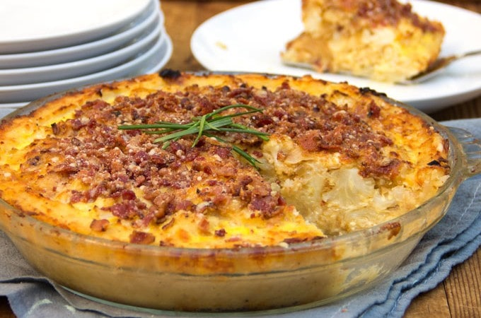 Cauliflower Gruyere Pie with Potato Crust and Bacon-Parmigiana Crumb Topping | Panning The Globe