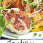 two potato patties surrounded by tomato avocado onion salad