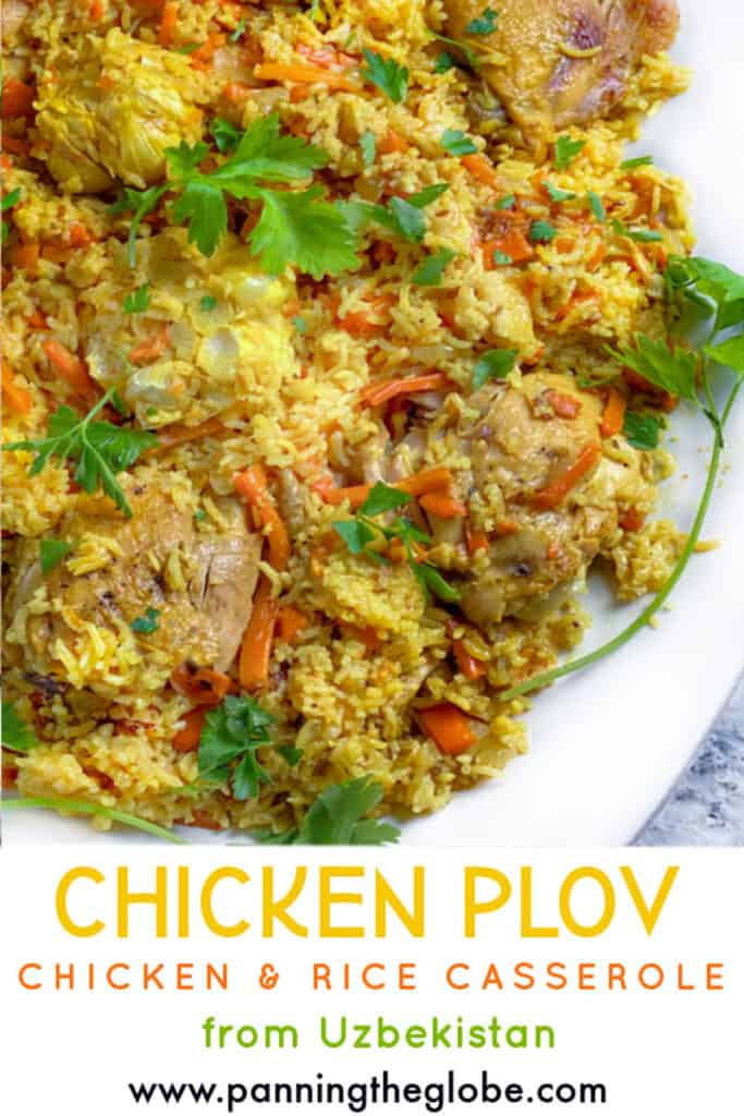 Pinterest Pin: Close up of a platter of Uzbek Chicken Plov