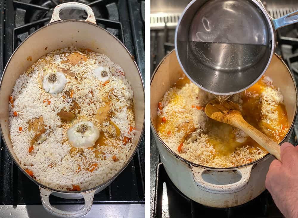 white Dutch oven filled with chicken and rice for plov, with 3 whole garlic bulbs pressed into the rice layer and a shot that shows how to pour boiling water over a wooden spoon, into the pot of chicken and rice