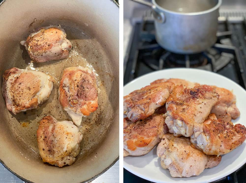 Showing how to make chicken plov, starting with browning bone-in, skinless chicken thighs in a white Dutch oven, 4 at a time, and setting them on a plate