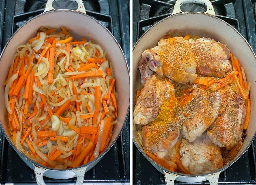 an oval dutch oven filled with sautéed shredded carrots and onions and another photo where 7 pieces of browned chicken and spices are put on top of the veggies