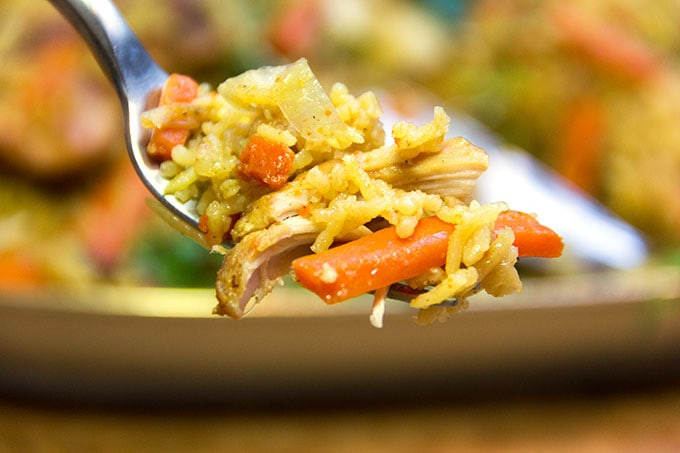 Chicken Plov: a casserole of chicken, rice and vegetables.