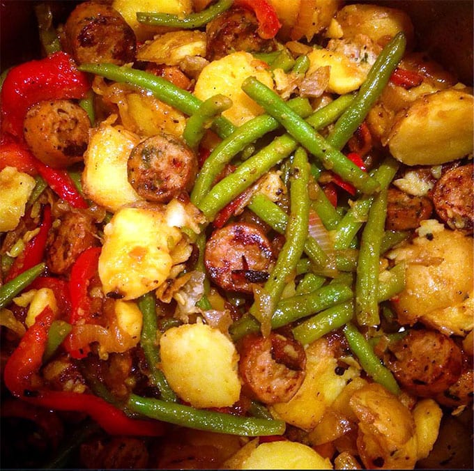 Recipe For Sausages Potato Peppers Onions And Green Beans A Comforting Weeknight