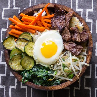 Bibimbap: Korean Rice Bowl of Beef Vegetables and Spicy Sauce