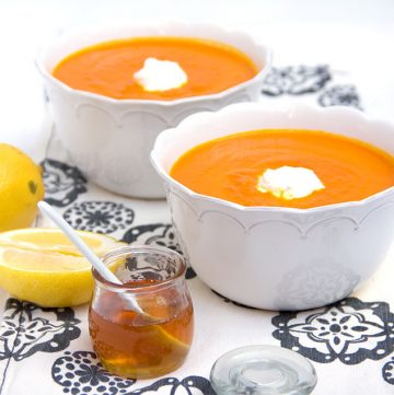 Moroccan Carrot Soup with Lemon Honey Yogurt | Panning The Globe