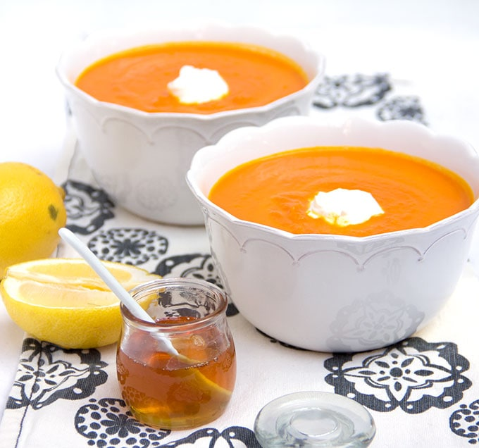 Moroccan Carrot Soup with Lemon Honey Yogurt | Panning The Globe