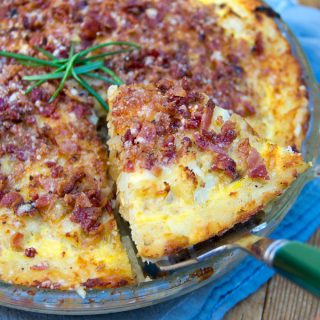 Cauliflower Gruyere Pie with Potato Crust and Bacon-Parmesan Crumb Topping