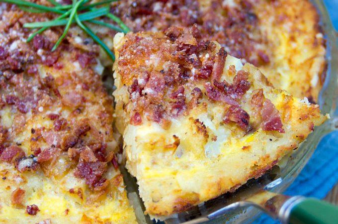 Cauliflower Gruyere Pie with Potato Crust and Parmesan Crumb Topping