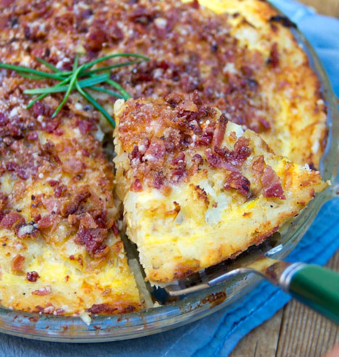 Cauliflower Gruyere Pie with Potato Crust and Bacon-Parmesan Crumb Topping.