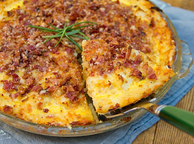 Cauliflower Gruyere Pie with Potato Crust and Bacon-Parmigiana Crumb Topping.