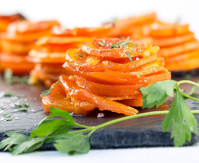 Apricot Lemon Butter Sweet Potato Stacks | Panning The Globe