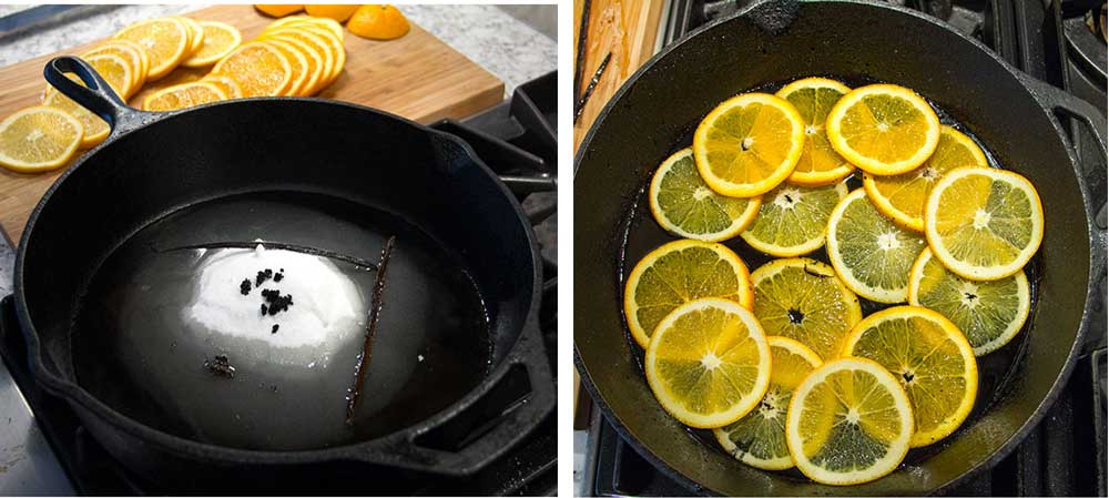 how-to melt sugar and vanilla beans in a cast iron skillet and add sliced oranges, to make vanilla orange upside down cake