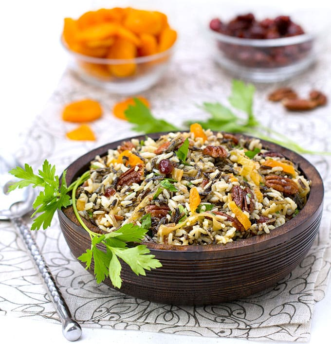 Wild Rice Salad with Cranberries, Apricots and Pecans • the perfect holiday salad • Gluten-free • Panning The Globe