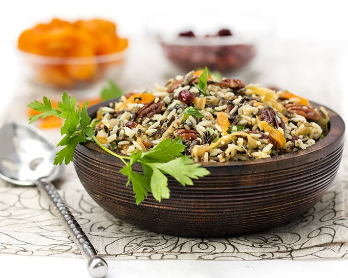 Wild Rice Salad with Cranberries Apricots and Pecans • a perfect side dish for the holidays • Panning The Globe