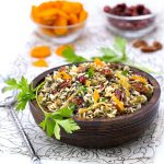 Wild Rice Salad with Cranberries, Apricots and Pecans