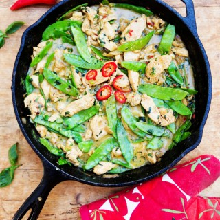 Fresh ginger, coconut milk and basil are the base of this fragrant Thai green curry chicken recipe. Fluffy white rice is all you need to complete the meal. Perfect for weeknights when you want something quick and delicious.