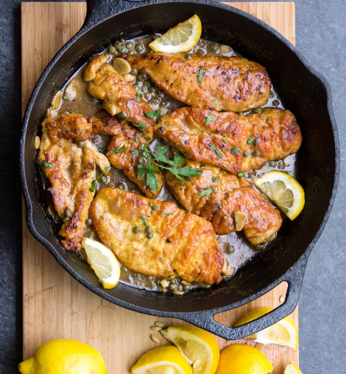 Here's a fantastic quick and easy chicken piccata recipe: tender boneless chicken in a luscious lemony sauce. Yum!!! You can get this delicious dinner on the table in 35 minutes.