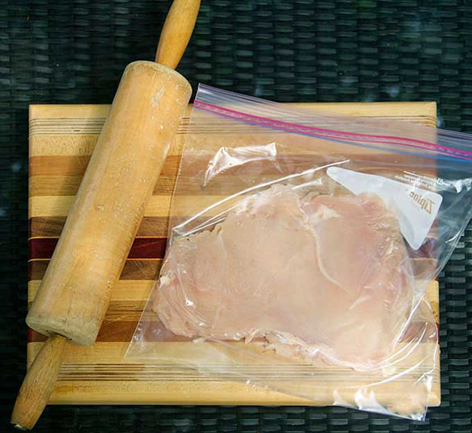 how to pound chicken into thin cutlets using a ziploc bag and a rolling pin