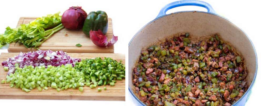chopping board with chopped celery, onions and green peppers, then a shot of a pot filled with sautéed onions, celery and green peppers
