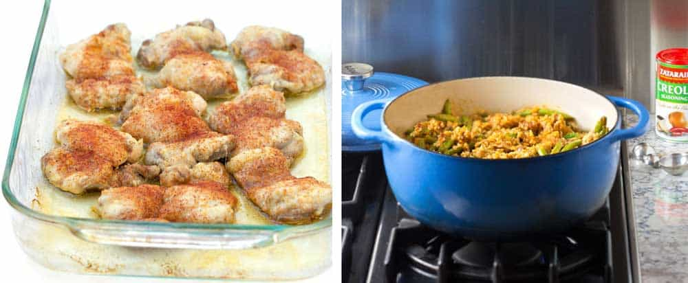 two process shots for how to make jambalaya: one showing roasted chicken thighs with creole spice sprinkled on top, another showing a blue Dutch oven filled with rice and chicken jambalaya