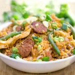 Spicy Chicken Jambalaya with Sausages and Green Beans #SundaySupper