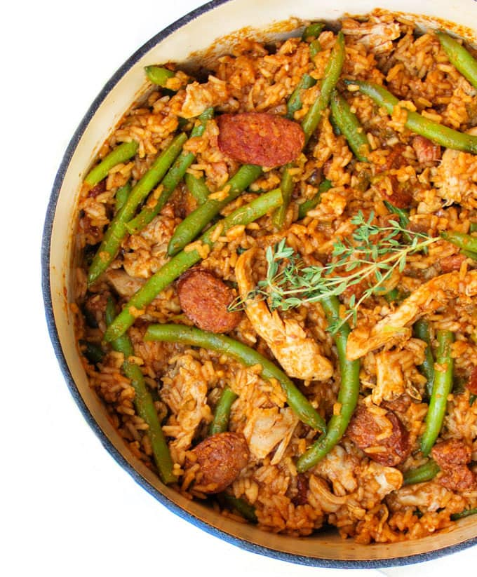 Spicy Chicken Jambalaya with Sausages and Green Beans • Panning The Globe