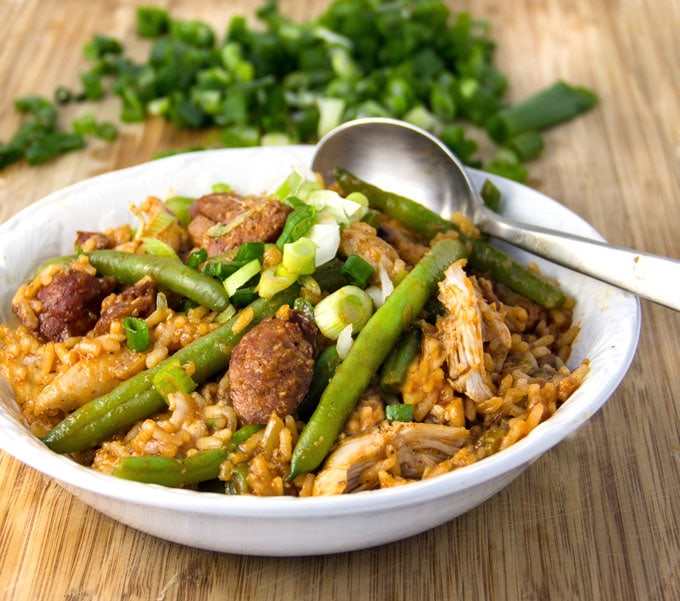 Spicy Chicken Jambalaya with Sausages and Green Beans