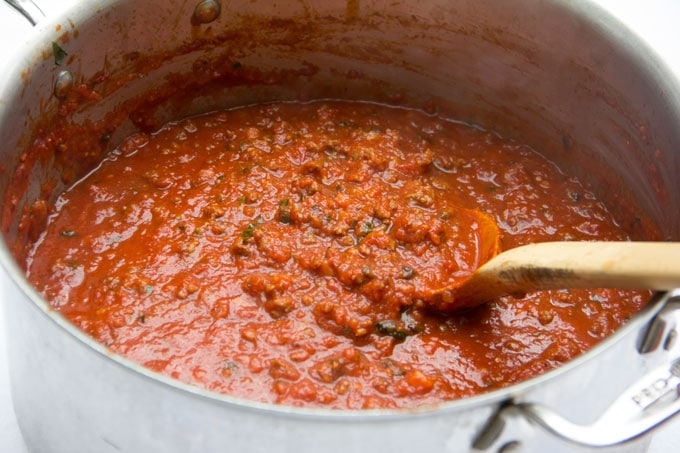 meat sauce for lasagna  in a pot