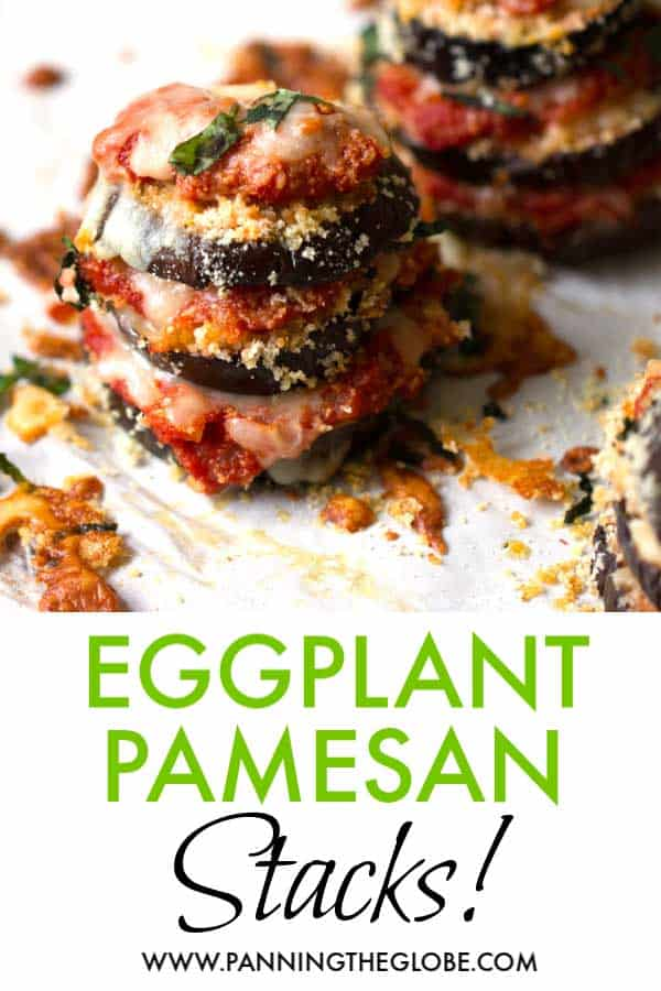 An eggplant parmesan stack with 3 rounds of eggplant layered with tomato sauce and melting cheese