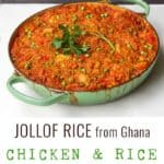 green shallow casserole filled with jollof rice with chicken, an orange colored, tomato-based curry