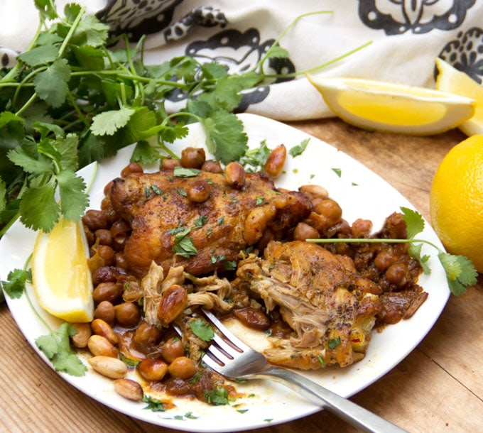 Slow Cooker Moroccan Chicken Tagine with chickpeas